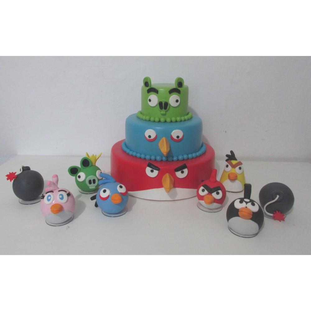 Bolo Angry Birds c/ topo